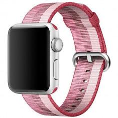 Curea pentru Apple Watch 38 mm iUni Woven Strap, Nylon, Berry - Curea ceas cauciuc