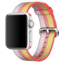 Curea pentru Apple Watch 42 mm iUni Woven Strap, Nylon, Rainbow - Curea ceas cauciuc