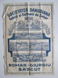Rar! Afis publicitar Societatea Danubiana-Fabrici si rafinerii de zahar anii 20