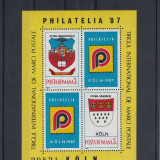 ROMANIA 1987 LP 1188 TARGUL FILATELIC INTERNATIONAL KOLN BLOC MNH - Timbre Romania, Nestampilat