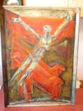 7720-I-Tablou Modernist posibil Th. Olteanu ? pe nuc masiv vechi St. F.B.