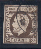 ROMANIA 1871/72 , LP 33 , CAROL I CU BARBA NEDANTELAT  25 BANI  BRUN STAMPILAT