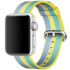 Curea pentru Apple Watch 38 mm iUni Woven Strap, Nylon, Pollen - Curea ceas cauciuc