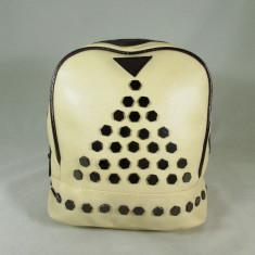 Rucsac/ghiozdan alb crem cu capse+CADOU, Piele ecologica
