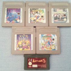 6 jocuri Nintendo Game Boy WARIO BLAST SUPER MARIO LAND 2 TETRIS DUCK TALES 2 F1 - Jocuri Game Boy