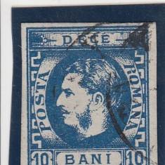ROMANIA 1869, LP 26, CAROL I CU FAVORITI VALOAREA 10 BANI ALBASTRU STAMPILAT - Timbre Romania