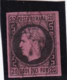 1866 LP 20 CAROL I FAVORITI  20 PARALE HARTIE GROASA NEGRU/ROZ POINCON L.PASCANU, Stampilat