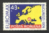 Romania 1974, HARTA EUROPEI, EUROMAX, timbru nestampilat F109
