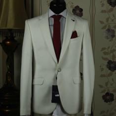 Sacou barbati , white , Slim Fit , Ucu Dima ,Cod : Sacou B.2047 White (Culoare: Alb, Marime Sacou: 52)