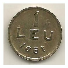 ROMANIA 1 LEU 1951 [01] CUPRU - NICHEL, XF, livrare in cartonas - Moneda Romania