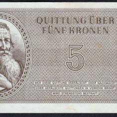 Cehoslovacia 5 Kronen Ghetou Germany Nazy Camp Theresienstadt 1943 - bancnota europa