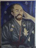 PICTURA ULEI / PANZA PORTRET IN HALAT  80x60 CM SEMNAT  STANGA JOS VASILE VARGA