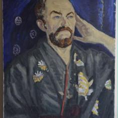PICTURA ULEI / PANZA PORTRET IN HALAT  80x60 CM SEMNAT  STANGA JOS VASILE VARGA, Portrete, Realism