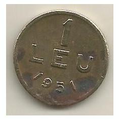 ROMANIA 1 LEU 1951 [08] CUPRU - NICHEL, livrare in cartonas - Moneda Romania
