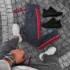 Pantaloni pentru barbati, gri inchis, conici, cu siret rosu, bumbac - BB-xlines - Pantaloni barbati, Marime: S, M, L
