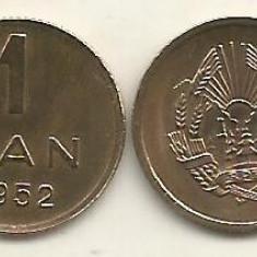 ROMANIA   RPR   1  BAN  1952   UNC  [1]  necirculata  ,  livrare in cartonas, Cupru-Nichel