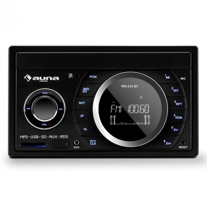 Stereo auto Auna MD-210 BT RDS Bluetooth FM USB SD AUX MP3 microfon 2-DIN 4x75W foto mare