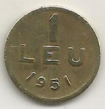 ROMANIA   1  LEU  1951  [05]  CUPRU -  NICHEL  ,   livrare  in  cartonas, Cupru-Nichel
