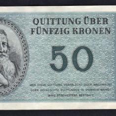 Cehoslovacia 50 Kronen Ghetou Germany Nazy Camp Theresienstadt 1943 - bancnota europa
