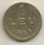 ROMANIA   1  LEU  1951  [07]  CUPRU -  NICHEL  ,   livrare  in  cartonas, Cupru-Nichel