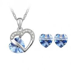Set bijuterii Deep Blue Heart - Set Swarovski