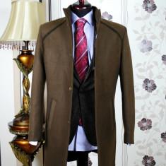 Palton barbati, maro, Slim Fit, Ucu Dima, Cod :Palton B.613 Maro (Culoare: Maro, Marime palton: 50)