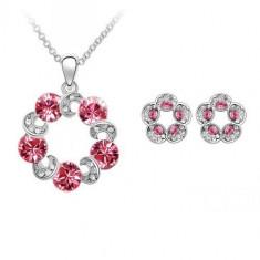 Set bijuterii Special Pink Flowers - Set Swarovski