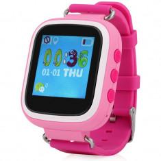 Ceas GPS Copii iUni Kid90, Telefon incorporat, Buton SOS, BT, LCD 1.44 Inch, Roz + Spinner Titirez Cadou - Smartwatch