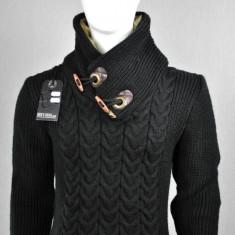 Pulover barbati cu blanita la guler,black, Cod: 5165 BLACK (Culoare: Negru, Marime Vestimentatie: L)
