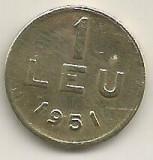 ROMANIA   1  LEU  1951  [04]  CUPRU -  NICHEL  ,   livrare  in  cartonas, Cupru-Nichel