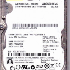HARD DISK LAPTOP SATA 250 GB WD SCORPIO 5400 ROT/MIN ;8 MB BUFFER IMPECABIL, 200-299 GB, Western Digital