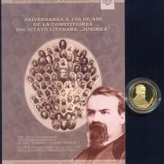 """MONEDA AUR - 100 LEI 2013  PROOF - 150 DE ANI - SOCIETATEA LITERARA """"JUNIMEA"""""""