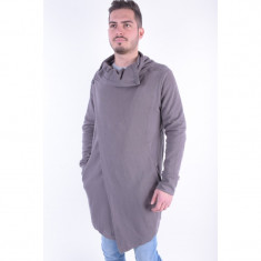 Cardigan Bumbac Lung Sublevel Roman Gri Inchis - Pulover dama sublevel, Marime: L, XL, XXL