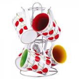 Set 6 căni din ceramică cu suport din inox cromat, Vabene, 7 piese, 280 ml - Cana