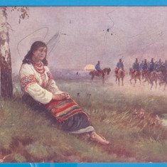 CARTE POSTALA AUSTROUNGARIA - TEMATICA - TARANCUTA CU SOLDATI, STAMPILA 1915, Circulata, Printata