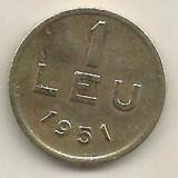 ROMANIA   1  LEU  1951  [02]  CUPRU -  NICHEL  ,   livrare  in  cartonas, Cupru-Nichel