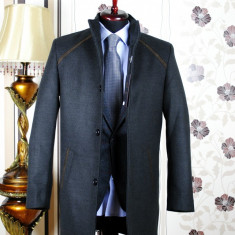 Palton barbati, gri, Slim Fit, Ucu Dima, Cod :Palton B.613 Gri (Culoare: Gri, Marime palton: 56)
