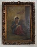 PICTURA INTERBELICA ULEI/CARTON 50/68 CM. FLORAREASA SEMNAT DR.JOS INDESCIFRABIL, Portrete, Realism