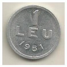ROMANIA 1 LEU 1951 [9] livrare in cartonas - Moneda Romania, Aluminiu