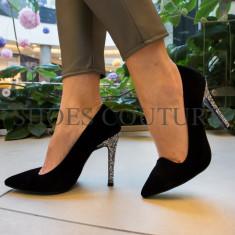 Pantofi dama, cu toc glitter, Ucu Dima, Cod: 57-2017 Black/silver (Culoare: Negru, Inaltime toc (cm): 10.5, Marime Incaltaminte: 36) - Pantof dama