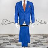 Costum elegant, carouri, barbati, Slim Fit, Cod: 117/121 (Culoare: Albastru, Marime Costum: 46) - Costum barbati