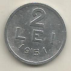 ROMANIA RPR 2 LEI 1951 [11] livrare in cartonas - Moneda Romania, Aluminiu