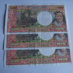 Bancnota 1000 francs Tahiti 1985