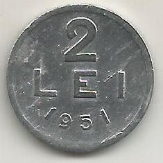 ROMANIA RPR 2 LEI 1951 [10] livrare in cartonas - Moneda Romania, Aluminiu