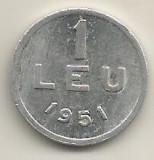 ROMANIA   1  LEU  1951  [11]    livrare  in  cartonas, Aluminiu