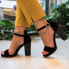 Sandale dama, cu toc si platforma glitter, Ucu Dima, Cod: 49-2017 Black (Culoare: Negru, Inaltime toc (cm): 9.5, Marime Incaltaminte: 39)