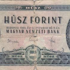 UNGARIA 20 forint 1965 F!!! - bancnota europa