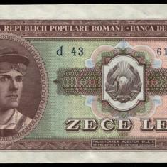 Y274 ROMANIA 10 LEI 1952 serie albastra aUNC APROAPE NECIRCULATA - Bancnota romaneasca