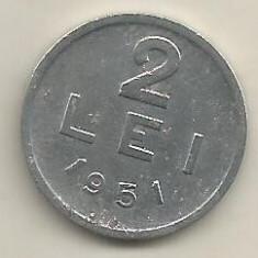 ROMANIA RPR 2 LEI 1951 [12] livrare in cartonas - Moneda Romania, Aluminiu