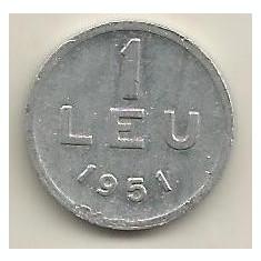 ROMANIA 1 LEU 1951 [4] livrare in cartonas - Moneda Romania, Aluminiu
